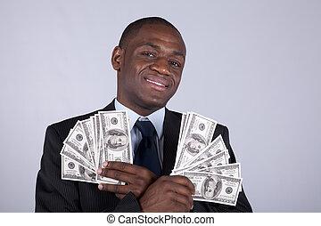 rijk, afrikaan, zakenman
