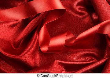 rijk, rood, kleur, satijn, weefsel, met, lint