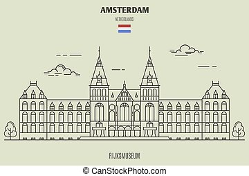 Rijksmuseum in Amsterdam, Netherlands. Landmark icon