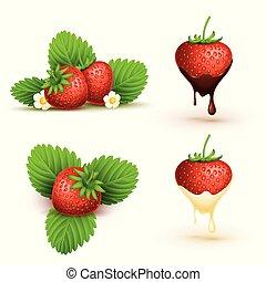 rijp, bladeren, op, illustratie, aardbei, vector, afsluiten, rood