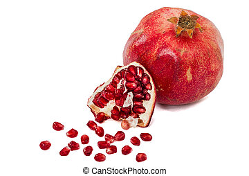 rijp, fruit, granaatappel, vrijstaand, achtergrond, witte