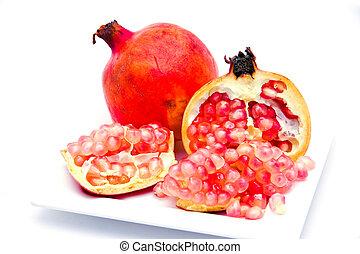 rijp, granaatappel, vrijstaand, fruit, achtergrond, witte