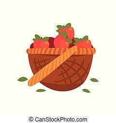 rijp, illustratie, vector, appeltjes , achtergrond, mand, wit rood