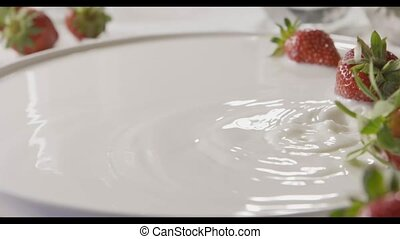 rijp, melk, leugen, vertragen, zes, focus., weinig, wit rood...