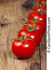 rijp, op einde, fris, aanzicht, tomaten, roeien