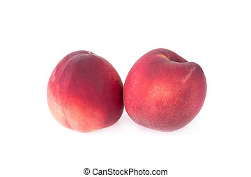 rijp, perzik, vrijstaand, fruit, achtergrond, witte