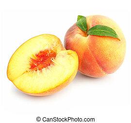 rijp, perzik, vrijstaand, groene, vellen, vruchten