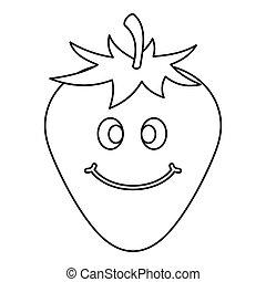 rijp, pictogram, het glimlachen, schets, aardbei