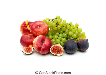 rijp, sappig, vrijstaand, fruit, achtergrond, witte