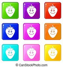 rijp, set, negen, het glimlachen, aardbei