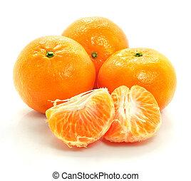 rijp, voedingsmiddelen, vrijstaand, fruit, achtergrond, witte , mandarine