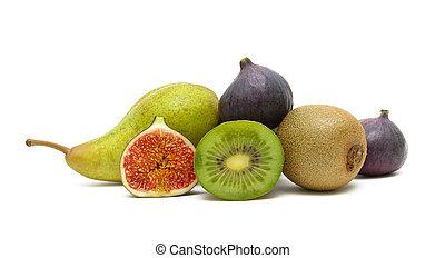 rijp, vrijstaand, achtergrond., fruit, witte , closeup.