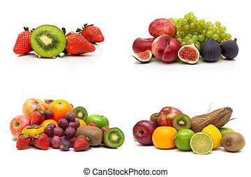 rijp, vrijstaand, fruit, achtergrond, fris, witte