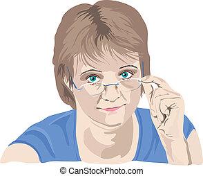 rijp vrouw, kijken over, haar, bril, met vingers, op, de,...