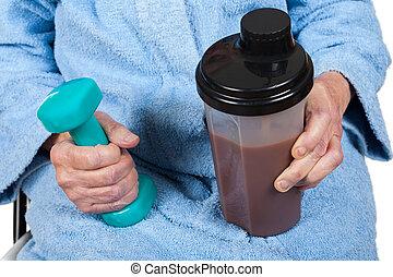 rijp vrouw, met, proteine verwiken, en, dumbbell