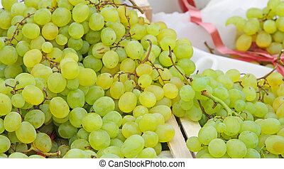 rijp, witte druiven, te koop, op, groente, markt