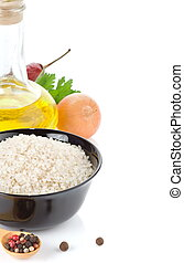 rijst, en, gezond voedsel, op wit