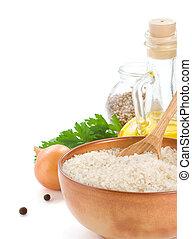 rijst, en, gezond voedsel, vrijstaand, op