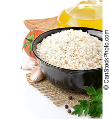 rijst, en, gezond voedsel, vrijstaand, op wit