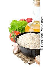 rijst, en, voeding, voedingsmiddelen, vrijstaand, op wit