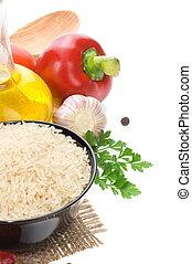 rijst, en, voedingsmiddelen, bestanddeel, groente, op wit