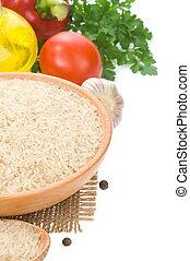 rijst, en, voedingsmiddelen, bestanddeel, op wit