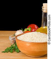 rijst, en, voedingsmiddelen, bestanddeel, vrijstaand, op, black