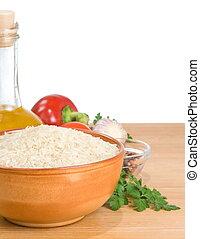 rijst, en, voedingsmiddelen, bestanddeel, vrijstaand, op wit