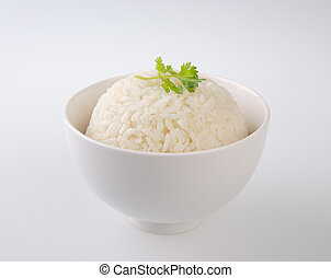 rijst, vrijstaand, op wit, achtergrond