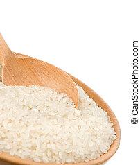 rijst, vrijstaand, op wit