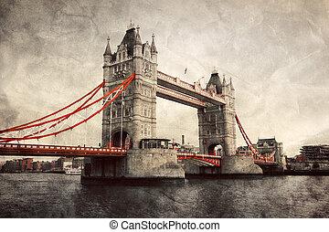 rijzen brug uit, in, londen, engeland, de, uk., ouderwetse ,...