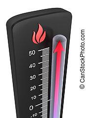 :, rijzen, temperatuur, thermometer