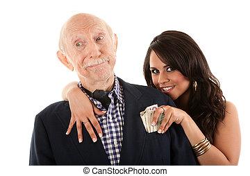 rik, äldre bemanna, med, gold-digger, kamrat, eller, fru