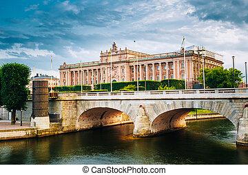 Riksdag Parliament Building, Stockholm, Sweden.