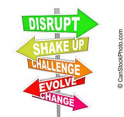riktning, avbryta, idéer, undertecknar, ny teknologi, ...