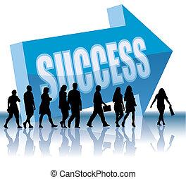 riktning, -, framgång