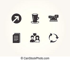 riktning, kärlek, arkivera, par, icons., tekopp, internet, återanvända, avskrift, signs., pratstund