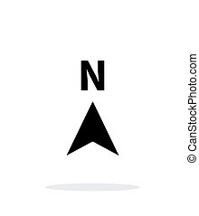 riktning, norr, bakgrund., kompass, vit, ikon