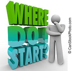 riktning, person, start, tänkare, plan, undrande, var