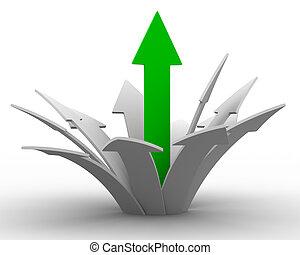 riktning, success., avbild, isolerat, rörelse, 3