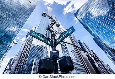 riktning, undertecknar, in, new york