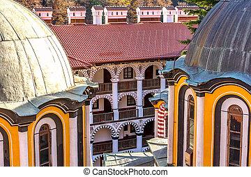 Rila monastery inner yard view, Bulgaria