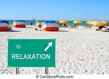 rilassamento, spiaggia, indicare, segno