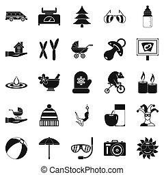 rilassamento, stile, set, icone semplici
