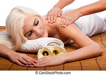 rilassamento, viziando, spalla, massaggio, terme