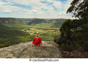 rilassante, con, uno, bello, vista, di, montagna, e, valle, viste
