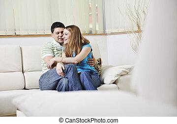 rilassante, coppia, casa