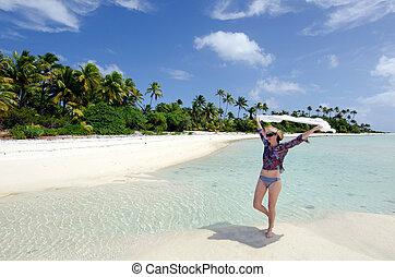 rilassante, donna, tropicale, sexy, giovane, isola abbandonata
