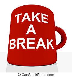rilassante, esposizione, rottura, tazza, prendere, stanchezza