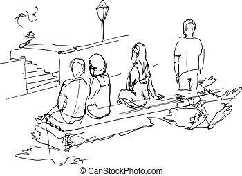 rilassante, persone, panca, parco, gruppo